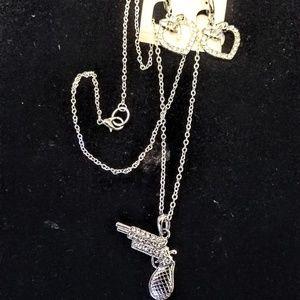 Jewelry - Rhinestone semi automatic pistol necklace